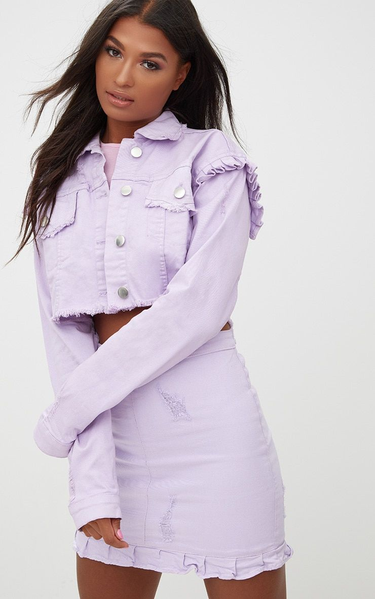 Lilac Ruffle Cropped Denim Jacket Purple Fashion Outfit Skirt Fashion Denim Fashion Women [ 1180 x 740 Pixel ]