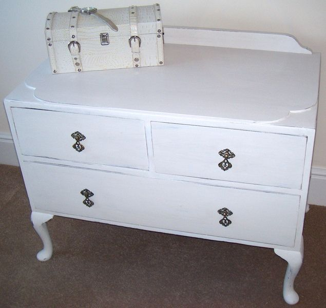 ART DECO CHEST TWO DRAWER CLOUD STYLE WHITE PAINTED ORIGINAL STYLE