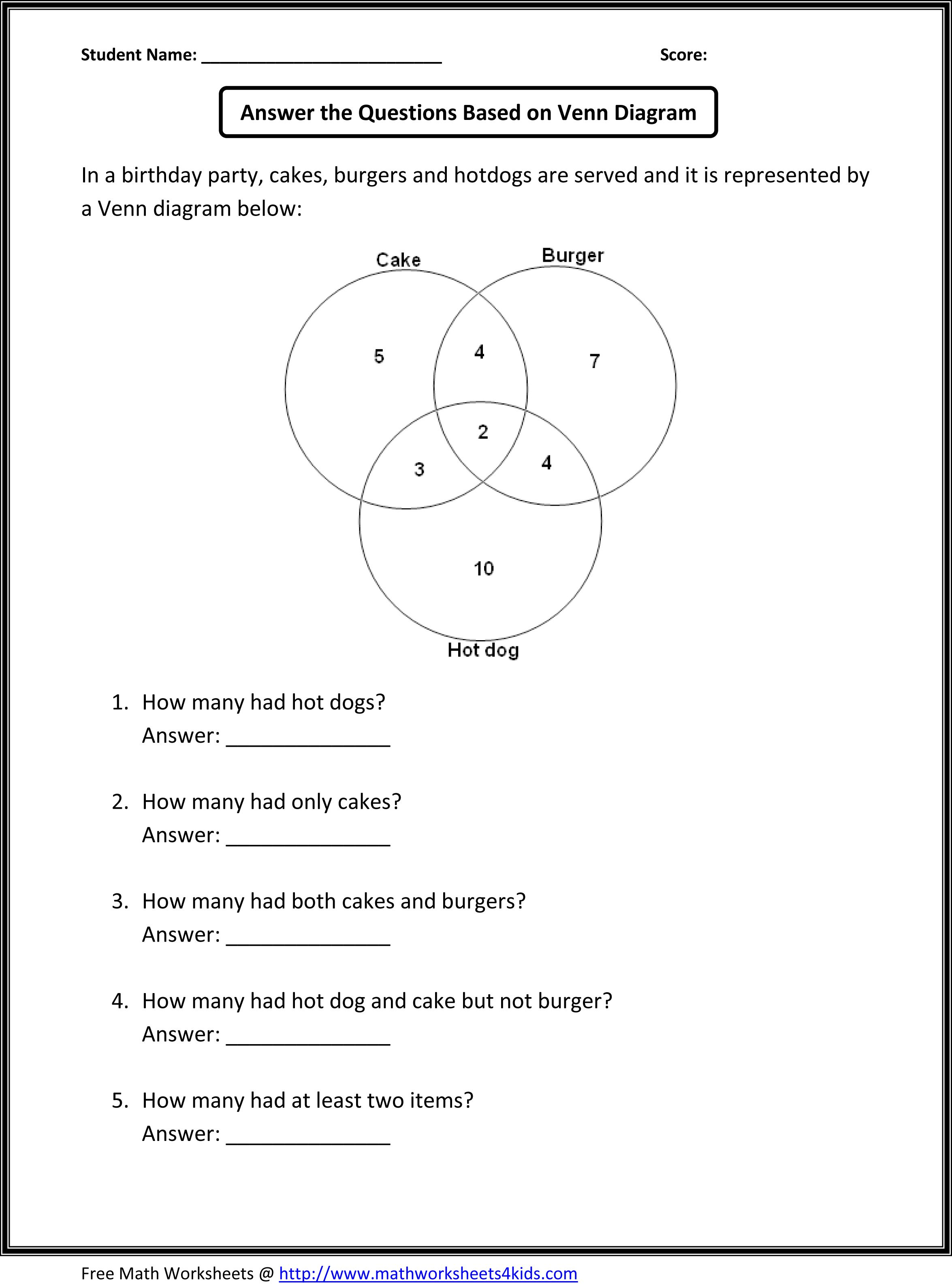 Venn Diagram Worksheets Word Problems Using Two Sets – Math Worksheets for Grade 3 Word Problems
