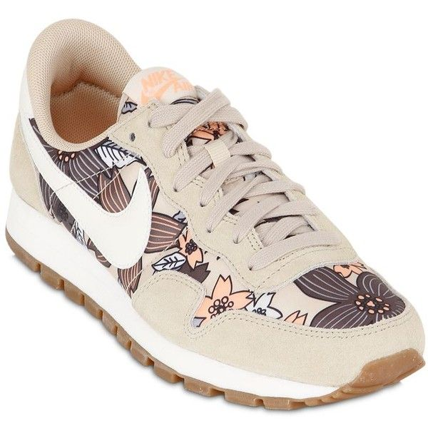buy popular 87058 b54cd NIKE Air Pegasus 83 Nylon   Suede Sneakers - Khaki Multi ( 120) ❤ liked on  Polyvore featuring shoes, sneakers, rubber sole shoes, suede leather shoes,  ...