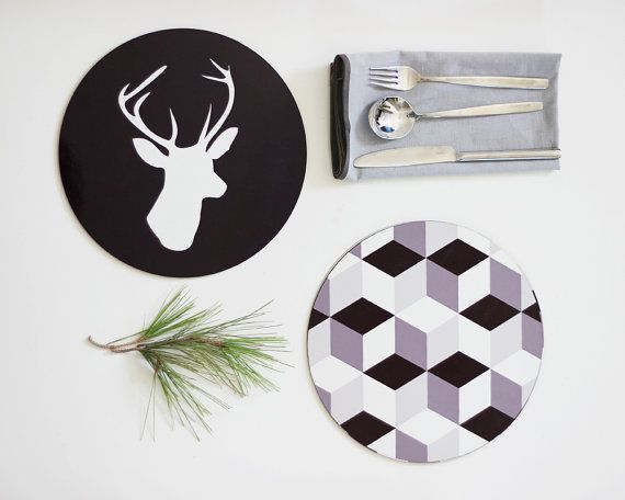 Black and White Hexagon Print and Deer Head by hooknloopdesign