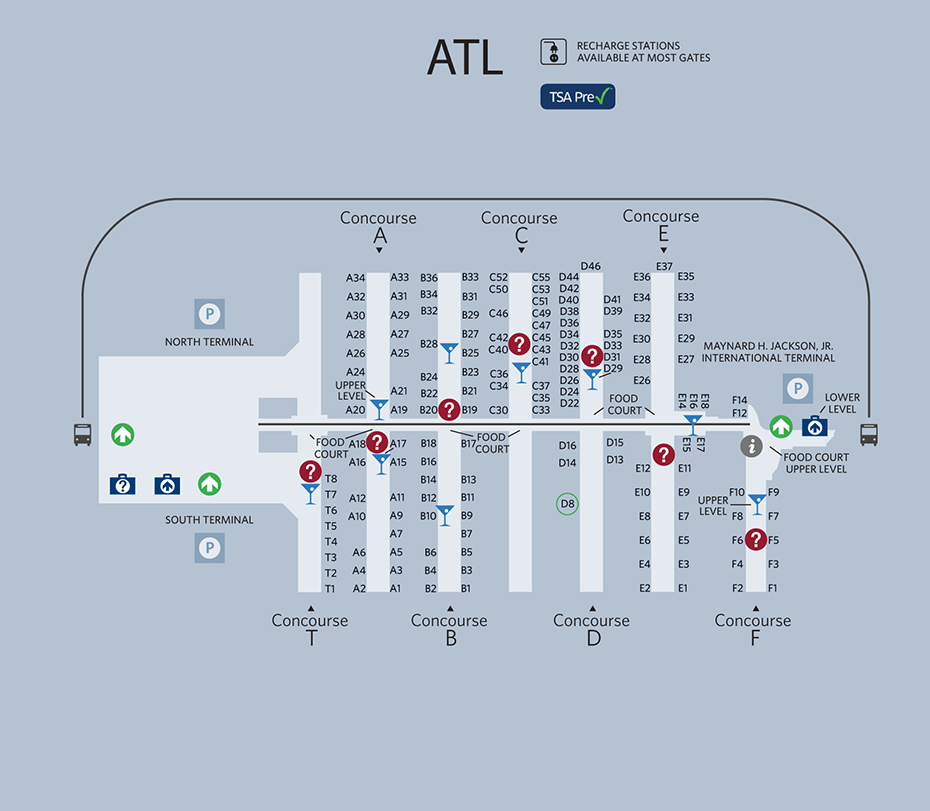 Atlanta Airport Map  If You Transfer Flights In Atlanta