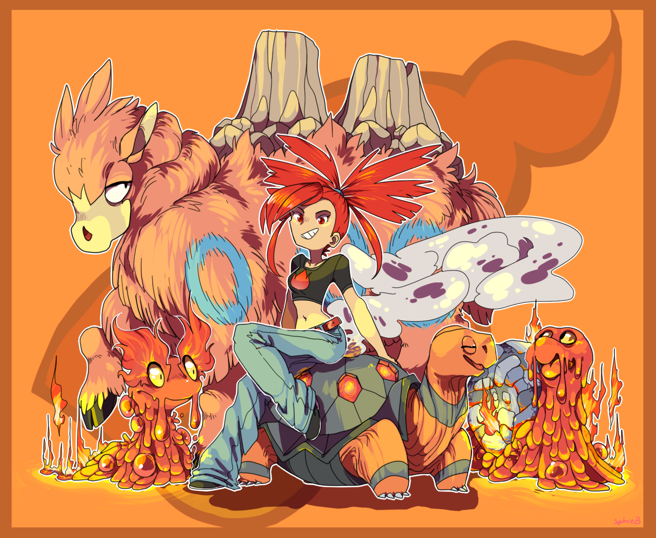 Flannery and her team Slugma, Magcargo, Torkoal, and