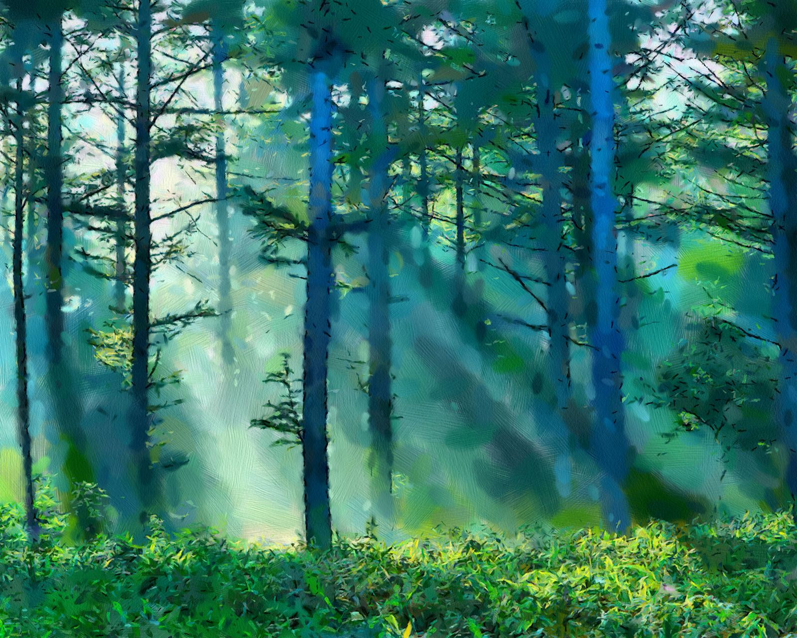 Forest piantings painting misty landscapes and beams for Painting a forest in acrylics