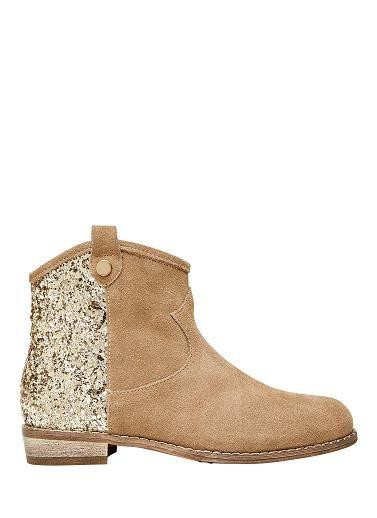 Girls leather glitter back short boot.