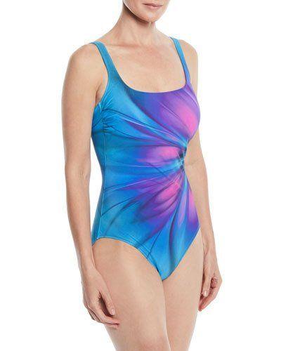 99a684ab62a Gottex Belle Fleur Square-Neck One-Piece Swimsuit