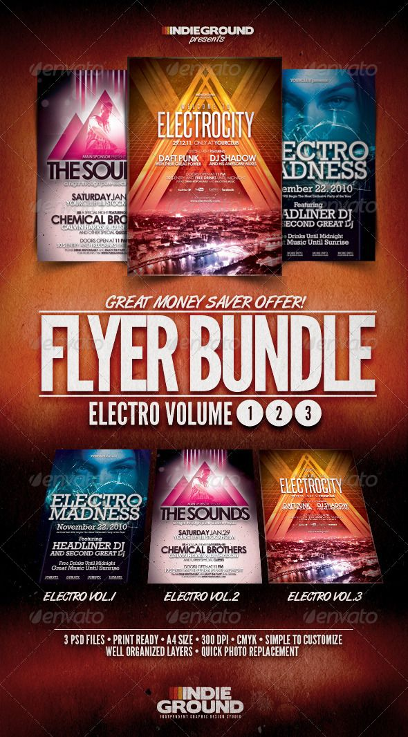 Electro FlyerPoster Bundle Vol   Urban Music Dj Electro And