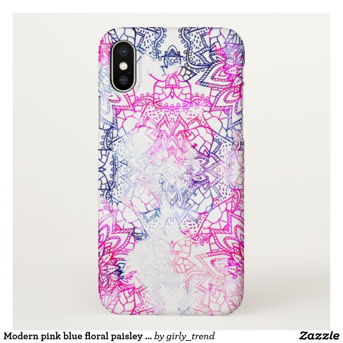 2804a9caf6b Modern pink blue floral paisley custom background iPhone x case  #iphonexcase,