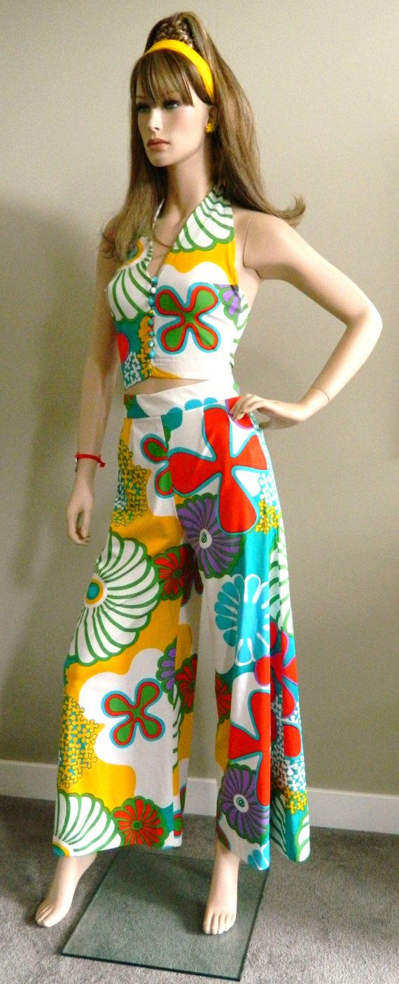 1960 s austin powers flower power 3 piece palazzo pant suit s 70 s