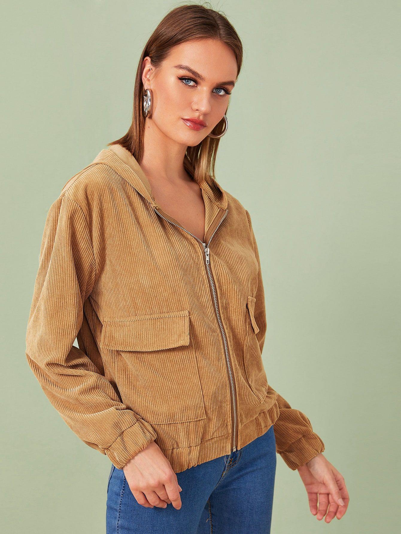 Corduroy Flap Pocket Zipper Hooded Jacket Sponsored