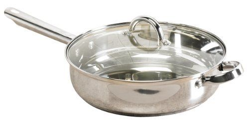Kitchen & Home 11'' Covered Saute Pan by Kitchen & Home. $24.74. Imported. New kitchen must have from Kitchen & Home! This classic stainless steel 11'' deep saute pan features a mirror finish, glass lid and hollow handle. Hand washing is recommended.. Save 25% Off!