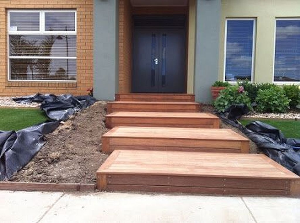 20 Modern Wooden Walkways Designs In Front Door Modern Landscaping Front Yard Walkway Design