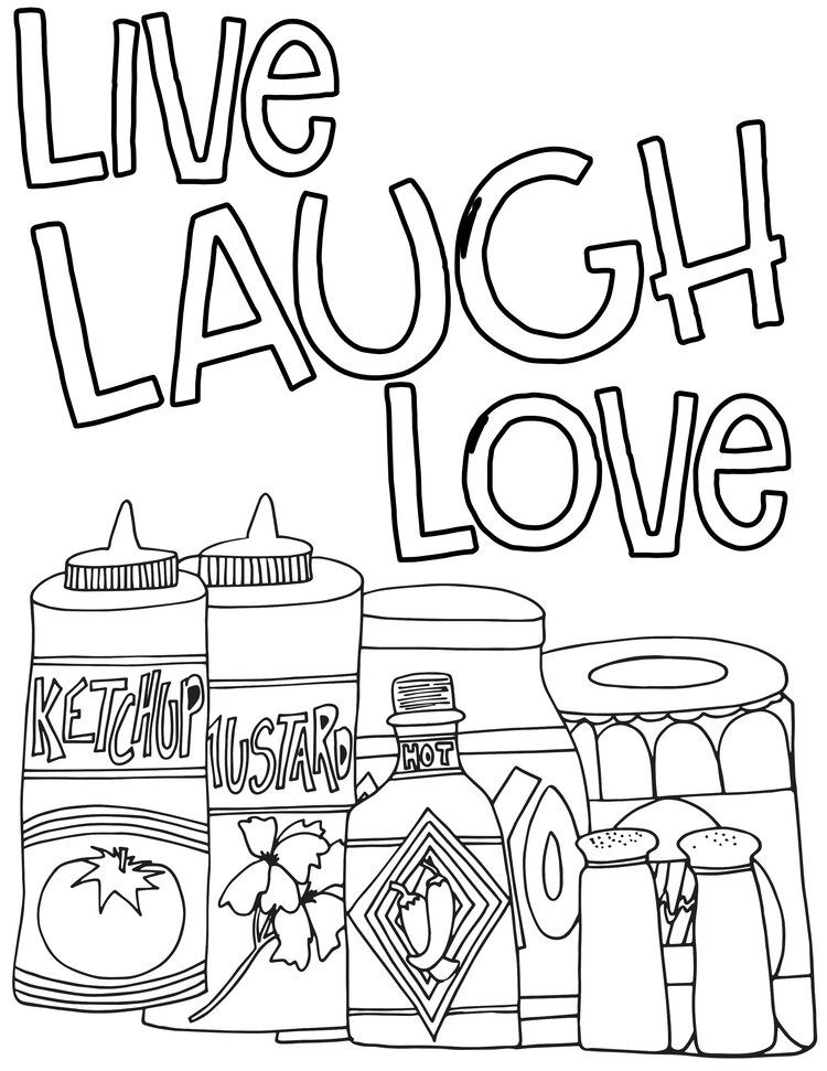 Condiments Live Laugh Love Free Page Jpg Free Coloring Pages