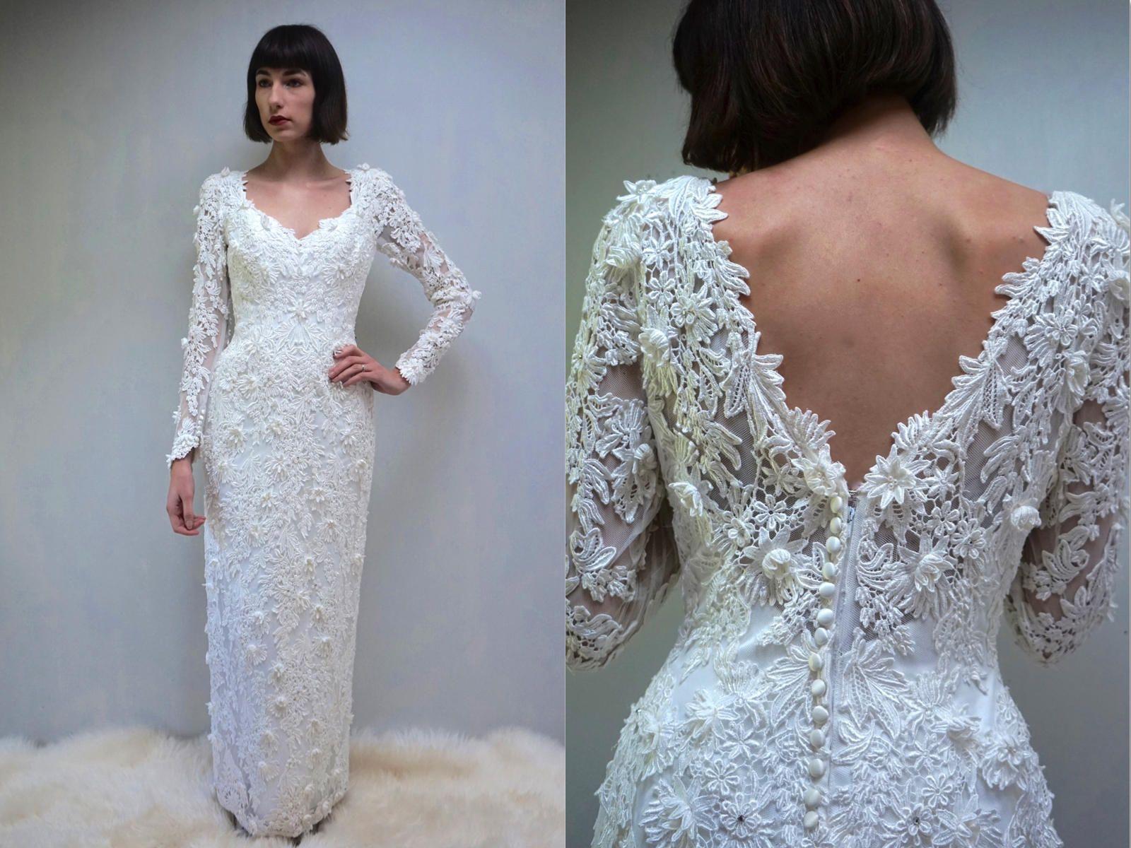 Pencil Wedding Gown // Tight Wedding Dress // Low Back Wedding Dress ...