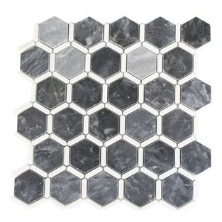 Florentine Dark Bardiglio Marble Tile With Thassos Line Florentine Dark Bardiglio With Thassos Line 2 He Stone Mosaic Floor Splashback Tiles Mosaic Flooring