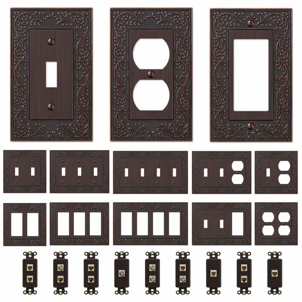 Oil Rubbed Bronze Wall Switch Plate Outlet Covers Ornate Floral Metal Wallplates Wall Switch Plates Wall Plate Cover Light Switch Covers Diy