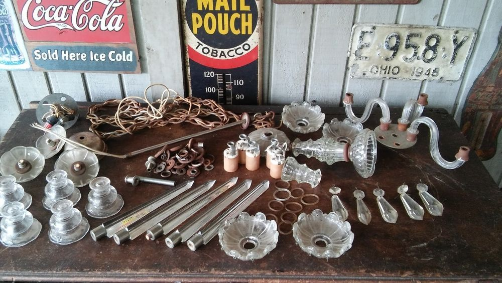 Antique Crystal Glass Chandelier Parts Lot Repair Restoration ...