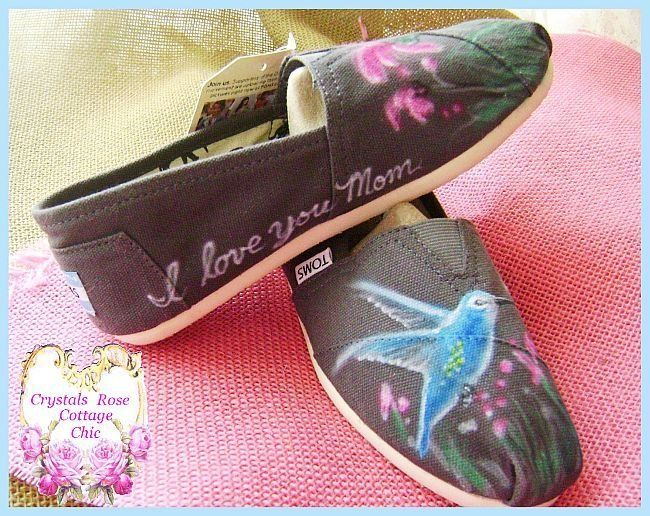 I love you Mom painted Toms