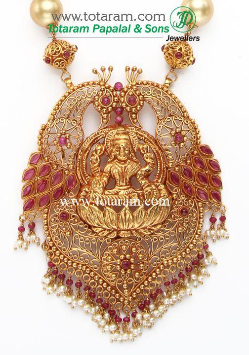 22K Gold LAKSHMI Long Necklace & Ear Hangings Set with South Sea