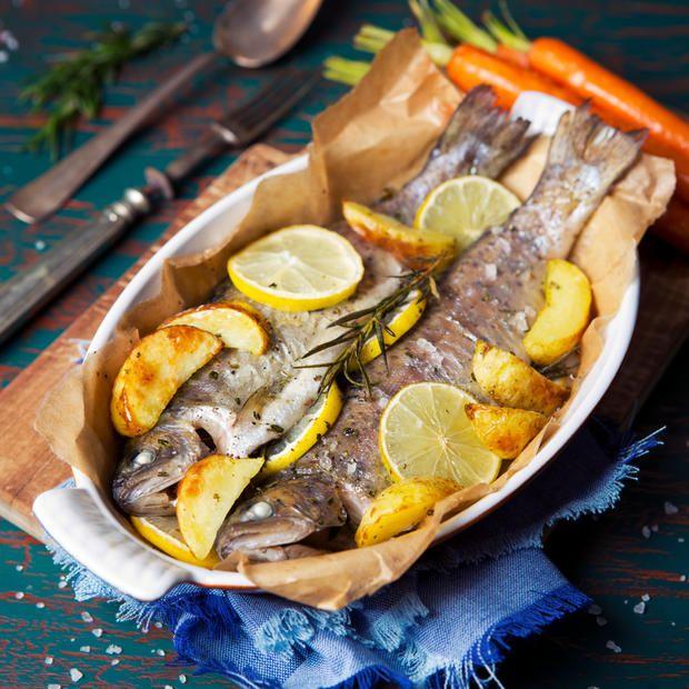 Knusprige Forelle Aus Dem Backofen Fisch Cooking Seafood Und