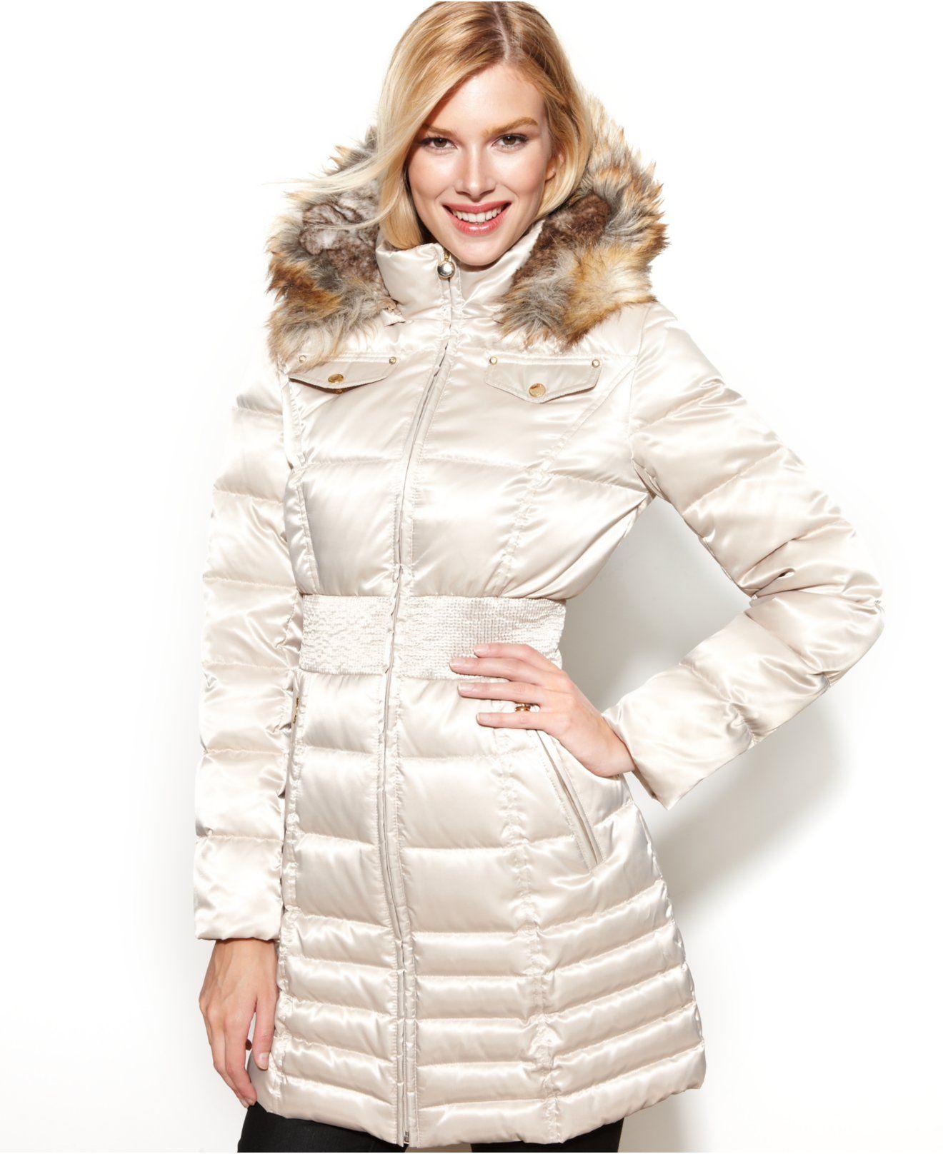 Laundry By Shelli Segal Faux Fur Trim Hooded Down Puffer Coat Coats Women Macy S Down Puffer Coat Coats For Women Womens Petite Coats [ 1616 x 1320 Pixel ]