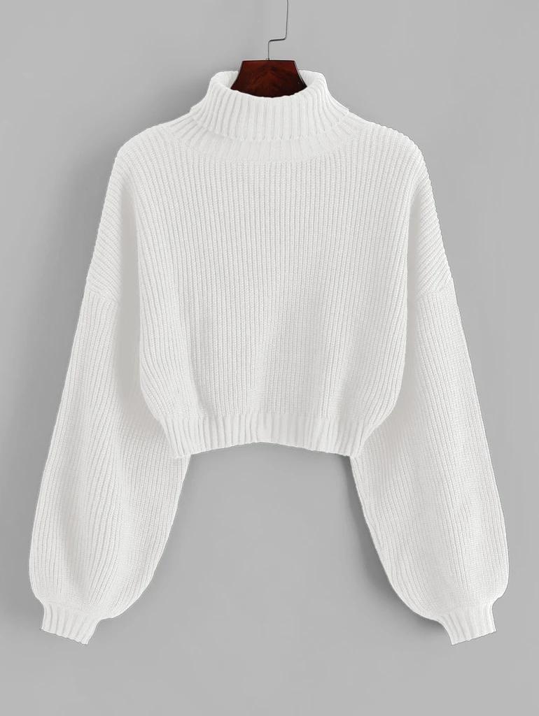 Turtleneck Long Lantern Sleeve Cropped Sweater Roll Neck Drop Shoulder