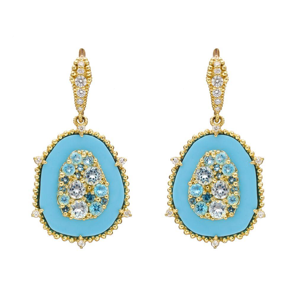 Judith Ripka Turquoise & Gemset Drop Earrings~judith Ripka