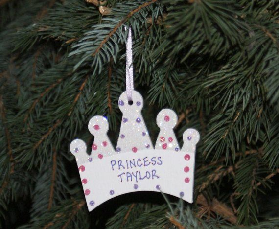 Crown Christmas Ornaments.Personalized Ornament Princess Crown Ornament Personalized