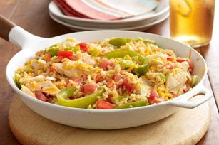 Cheddar-Chicken & Rice Skillet recipe. Love this meal. I like to add black beans and corn too.