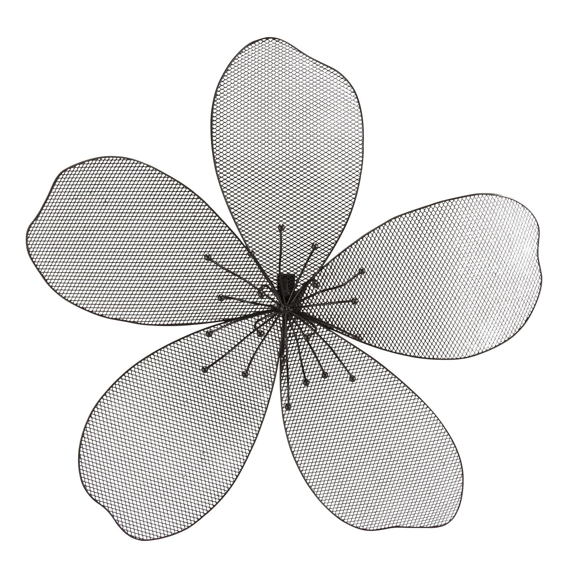 d coration murale en forme de fleur en m tal noir grand. Black Bedroom Furniture Sets. Home Design Ideas