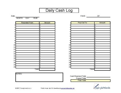 Daily Cash Log Sheet - Printable Cash Form for Financial Records ...
