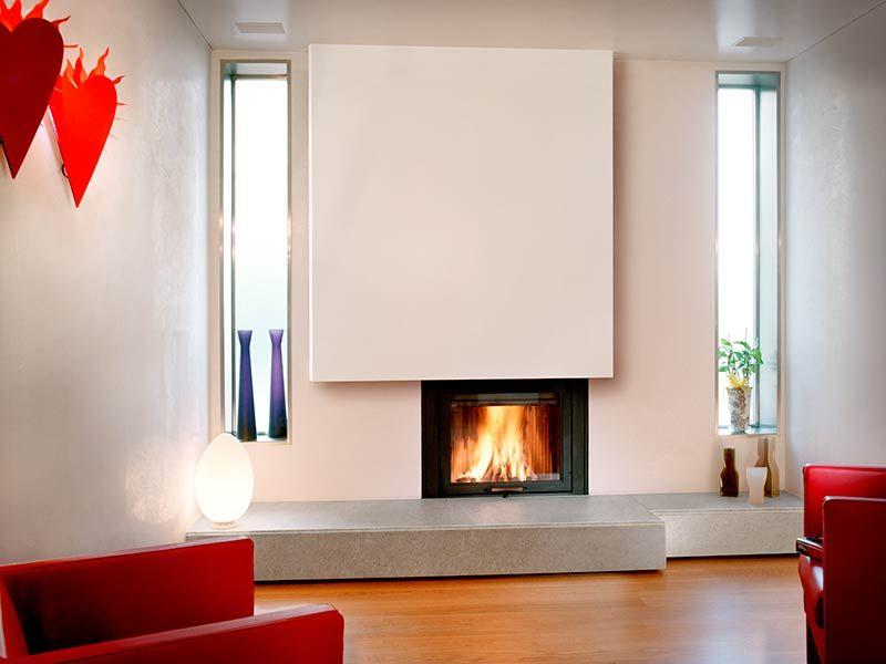 Caminetto moderno a parete camino home fireplace for Interior design moderno