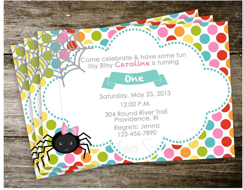 Itsy Bitsy Spider Nursery Rhyme Invitation Birthday Party Invite ...