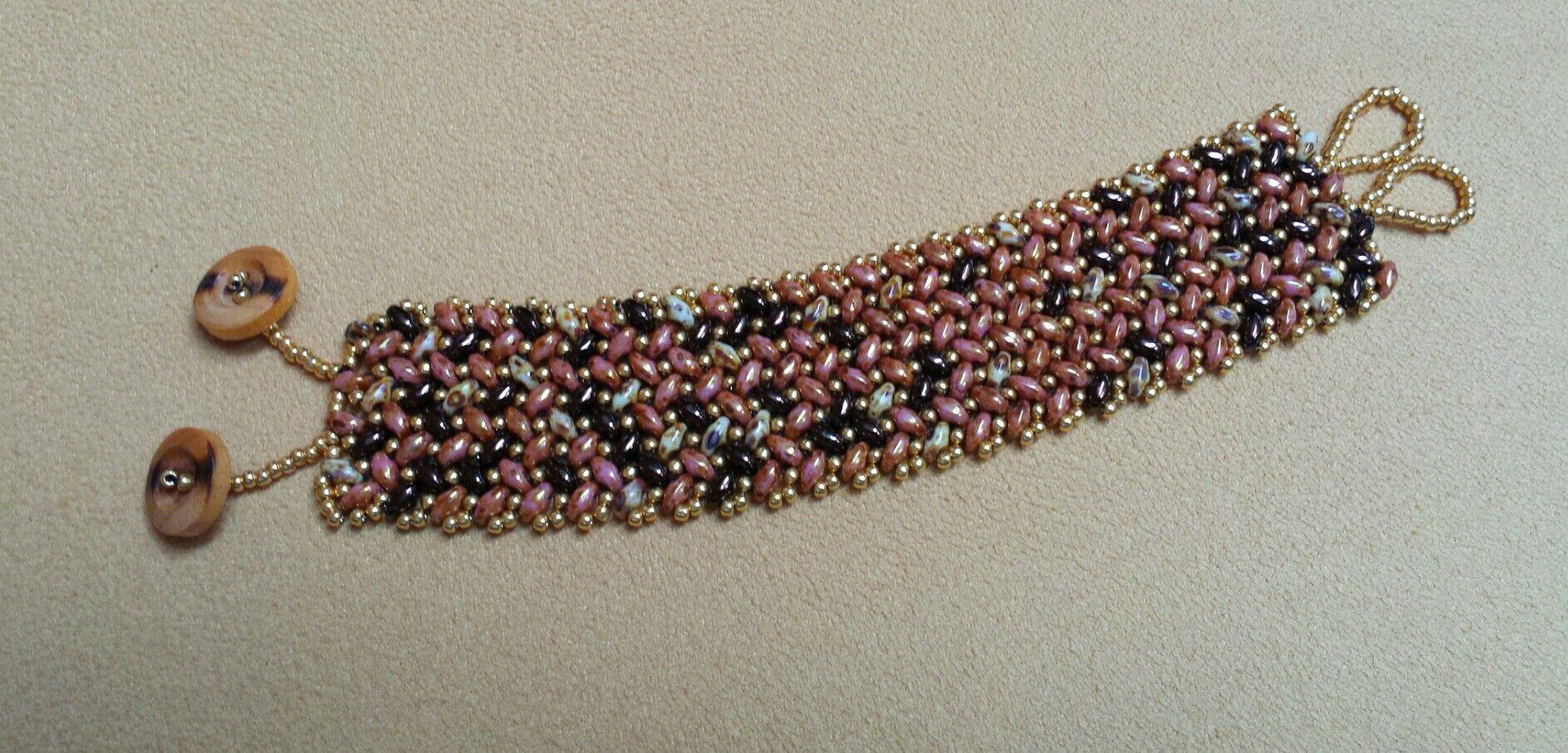 Fall SuperDuo Herringbone Beaded Bracelet.  Easy to make.