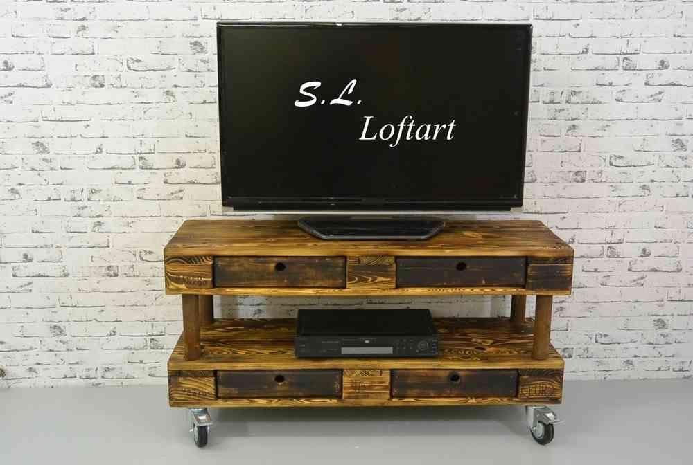 Upcycle Palettenmobel Tv Hi Fi Bank Industry 120x40x60 Cm Inkl