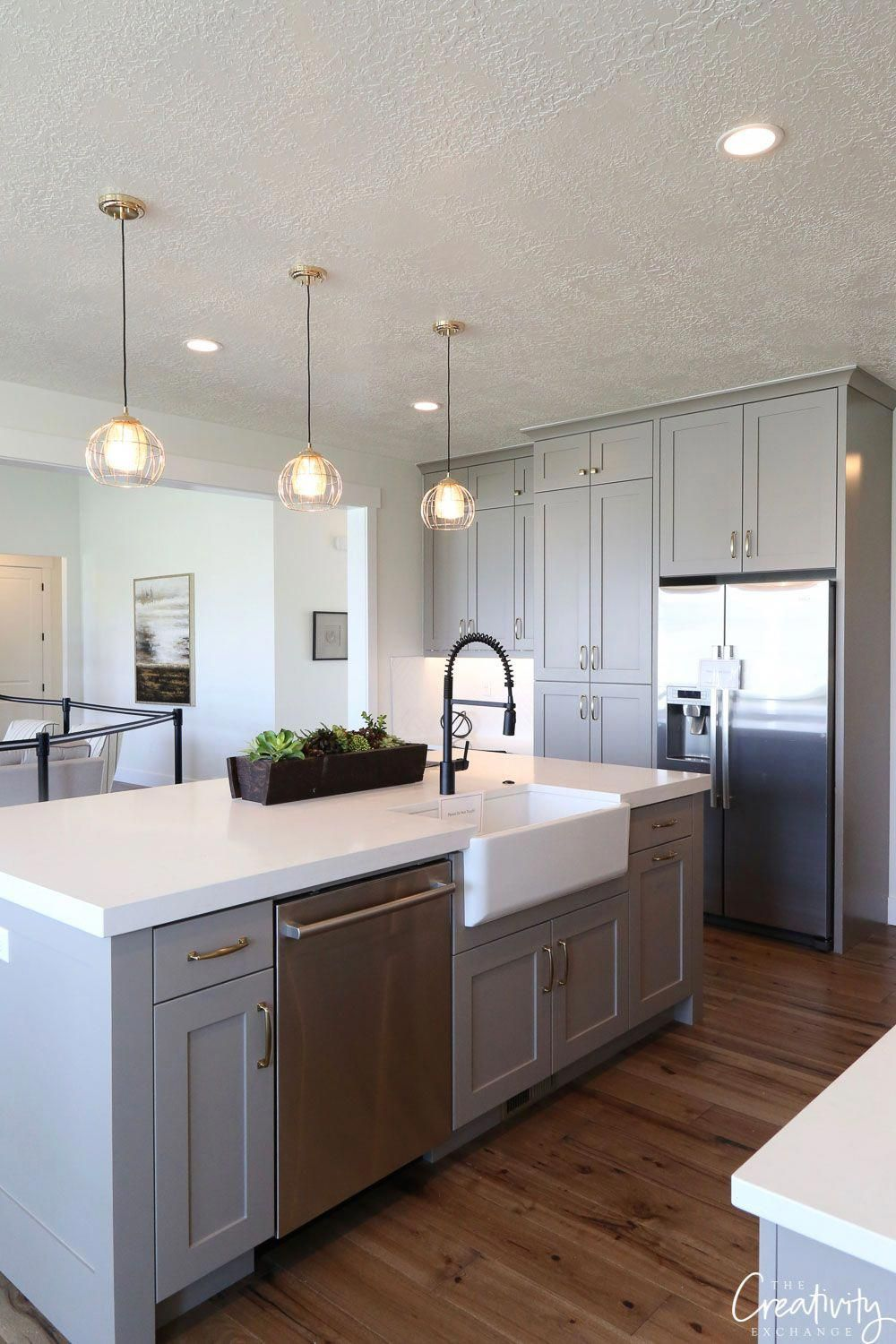 Modern Farmhouse Kitchen Cabinets Bm Shale Note Rough Finish To Ceiling Looks Li Modern Farmhouse Kitchens Farmhouse Style Kitchen Farmhouse Kitchen Cabinets