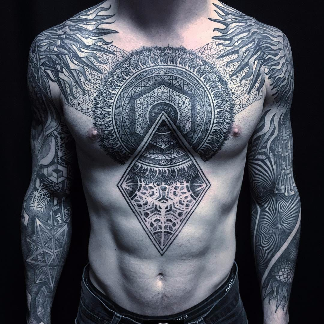 Patterns By Rob Hoskins Robhoskins Blackandgrey Linework Dotwork Chestpiece Sleeves Pattern Geometric Tattoos For Guys Tribal Tattoos Chest Tattoo Men