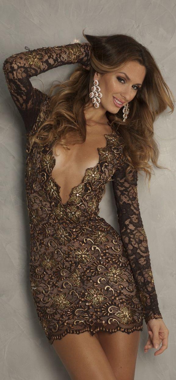 669ffe46ba11 Holt Maisondeluxe - Eli Deep V Lace Dress in Brown