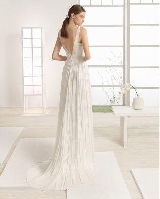 WALDO vestido novia en color natural