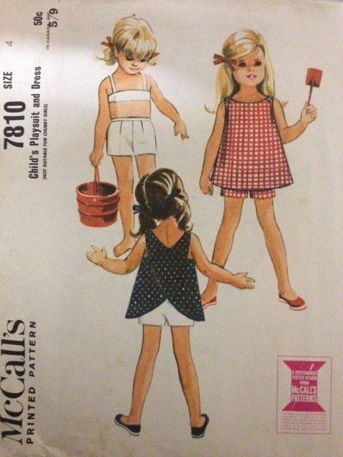 McCalls 7810, Childs Playsuit and Dress, Size 2 (21) and Size 4 (23 ...