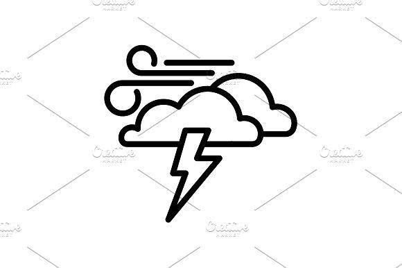 icon. Haze (storm). Lightning, cloud Icon, Weather icons