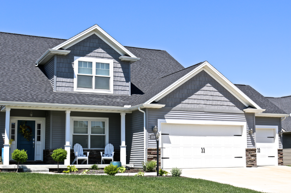Moire Black Roof With Deep Granite Grey Gray House Exterior Exterior House Doors House Paint Exterior