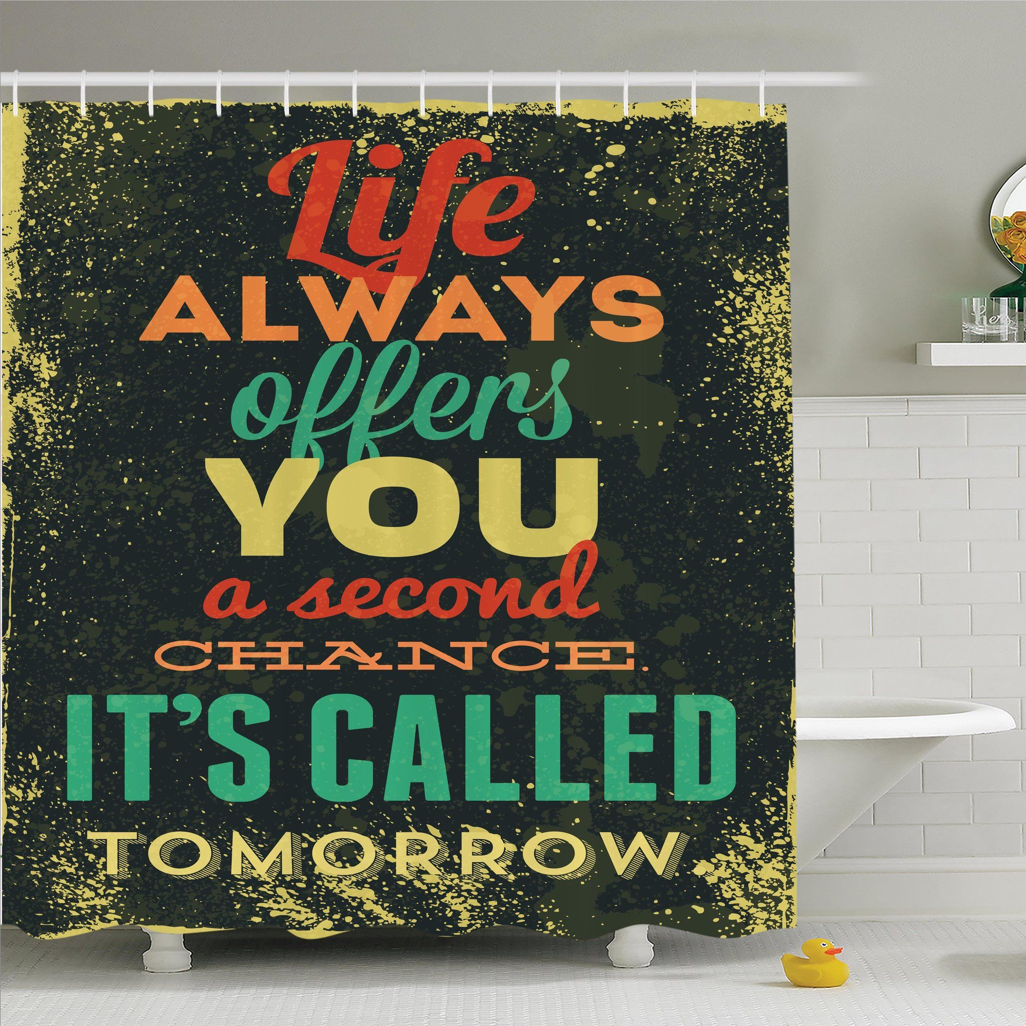 Inspirational Quote Grunge Art Shower Curtain Set Products