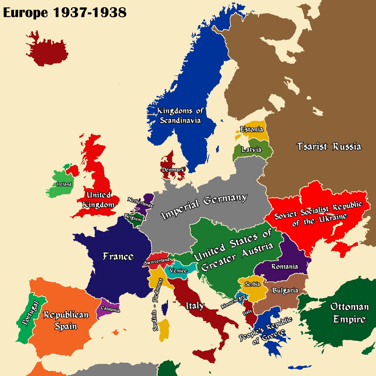Althist Europe Map 1937 Part 1 Europe Map European Map Alternate History