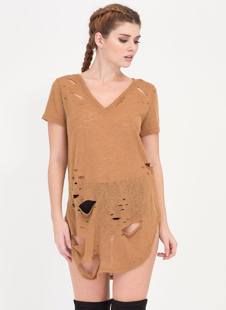 5735dda8414e Cover Your Bases Distressed Tee Dress