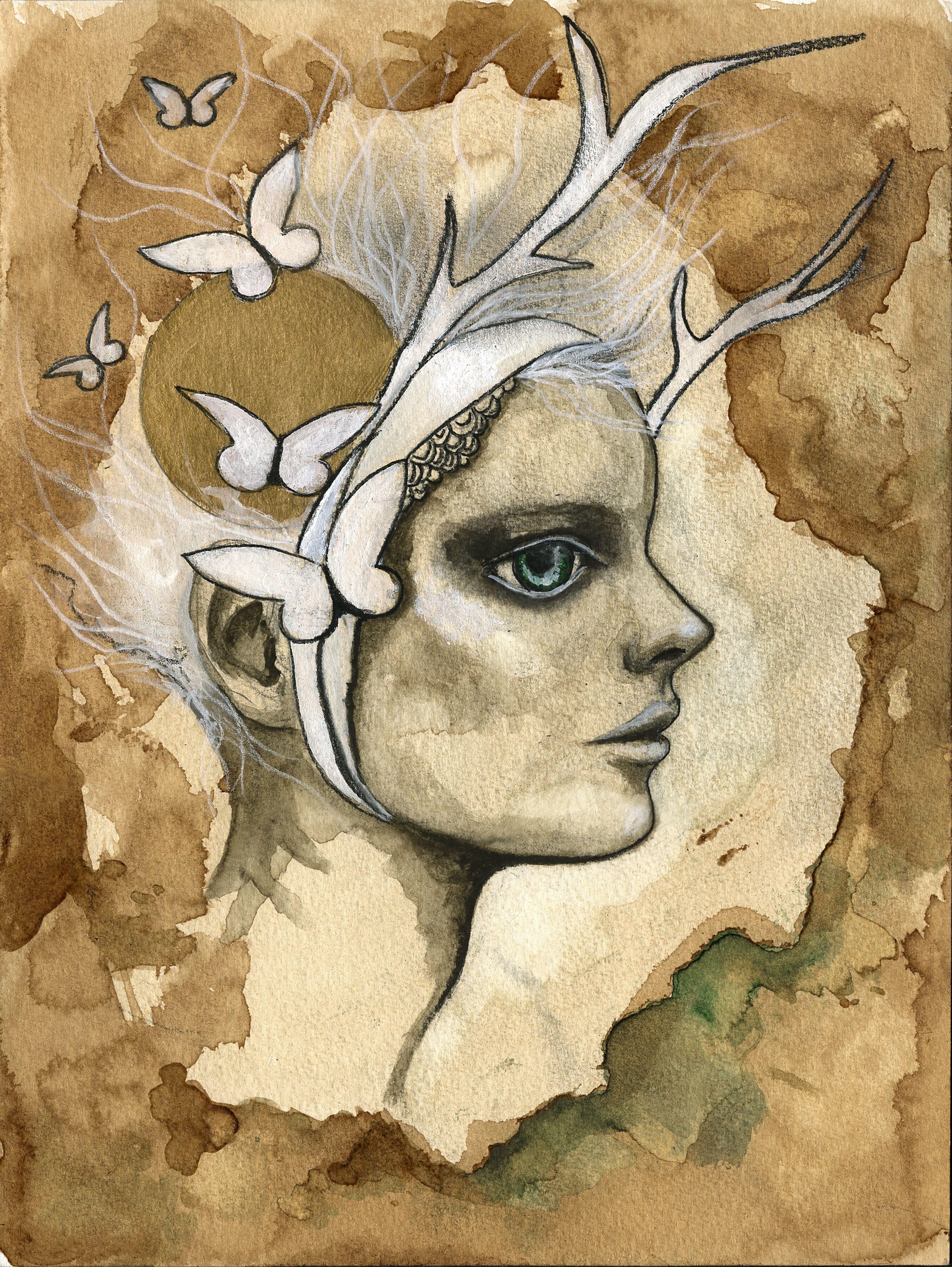 "Coffee Painting ""Woodland fairy"" by Viktorija Bowers-Adams  https://www.etsy.com/shop/mvalchemy"
