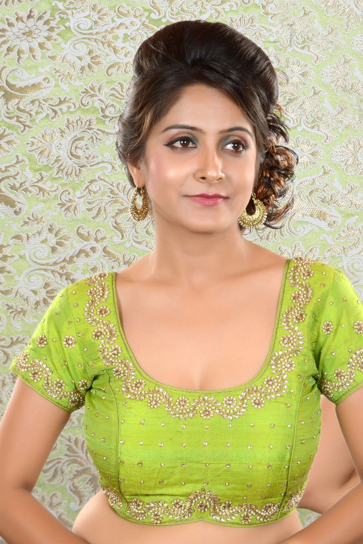 42ab527126764 Parrot Green raw silk Kundan worked blouse-BL454