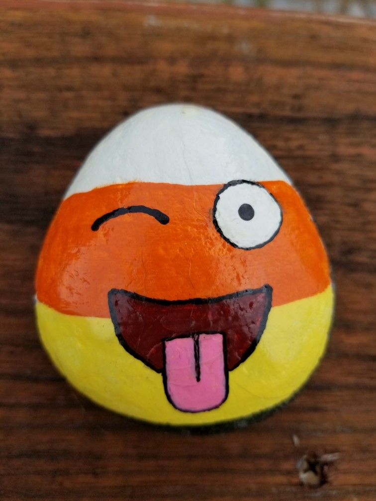 Candy Corn Face, Halloween Rock, Emoji #raytownrocks