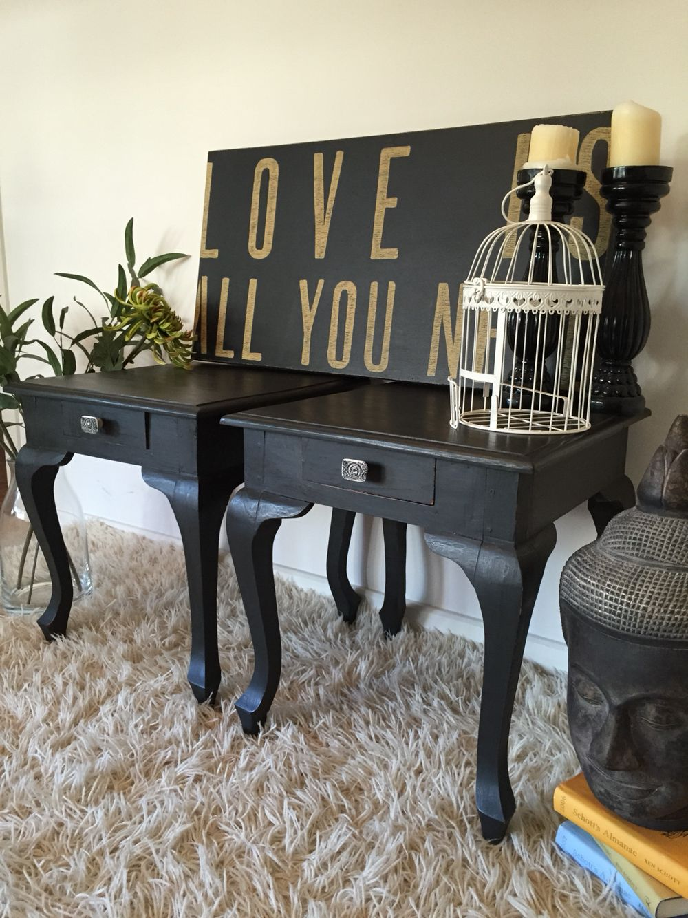 """""""East Meets West......"""" Gorgeous side tables finished in Annie Sloan Graphite chalk paint."""