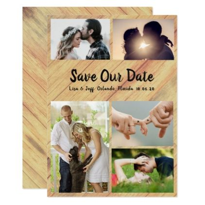 rustic wood photo collage save our date cards barn weddings